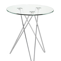 Zoey Side Table Clear Glass/Chrome