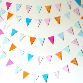 Flag Triangle Garland - summer garland, patterned paper garland, bright home decor, summer decor,  party decor, kids room decor