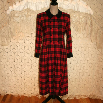 Vintage Black Red Plaid Dress 90s Grunge Flannel Winter Dress Long Sleeve Prairie Dress Petite Size 6 Size 8 Small Medium Womens Clothing
