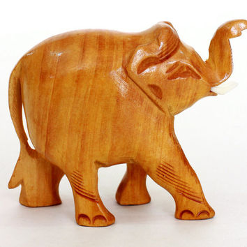 Elephant Figurine - Hand wood carved from old Sri Lanka technology