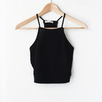 Ribbed Knit Halter Crop Top - Black