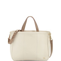 Halston Leather Satchel Bag, Bone/Ash