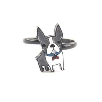 Adorable Boston Terrier Puppy Shaped Adjustable Ring in Grey and white | DOTOLY