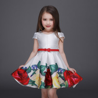 Baby Girl Dress W Belt Kids Flower Printed Short Sleeve Ball Gown Dresses  Clothes
