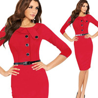 100% real photos Button women Autumn Business Solid Dress Half sleeve Work office Tunic sheath Bodycon Fitted Pencil Dress
