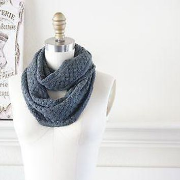 Gray Chunky Infinity Scarf Cotton Wool Knit Warm Super SOFT Scarf Giant Bulky