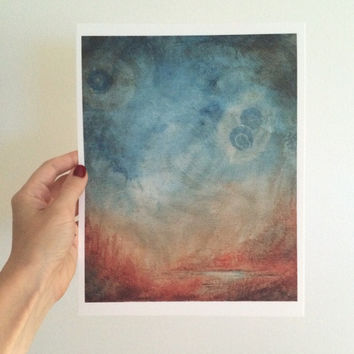 Watercolor Painting Print Art Painting Print Wall Art Mars Landscape Watercolor Landscape Art Wall Art free shipping to US