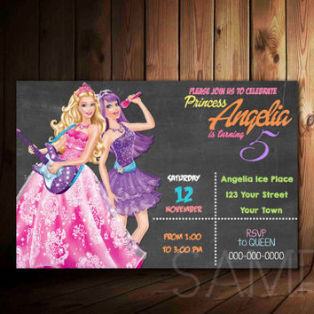 Barbie Princess Charm School Birthday Party Invitation