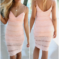 Seaside Beauty Fitted Lace Cocktail Peach Midi Dress
