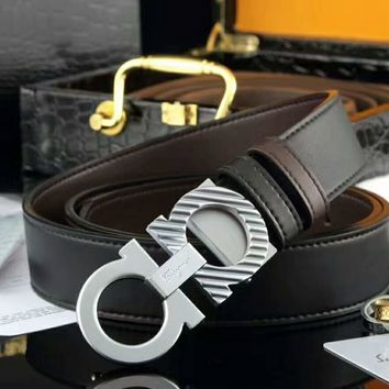 Ferragamo Woman Men Fashion Smooth Buckle Leather Belt Black-Sliver G-A-GFPDPF
