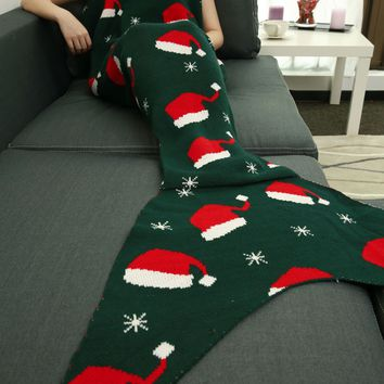 Super Soft Christmas Hat Knitting Sleeping Bag Mermaid Blanket
