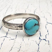 Turquoise Sterling Silver Ring Western Floral Diamond Band