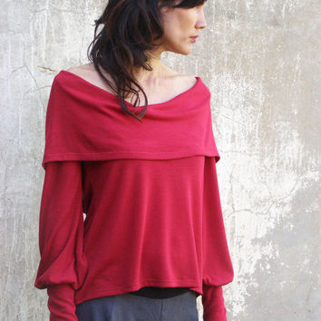 Red  Womens  Sweater top/shirt-2 ways top/shirt/ long sleeves--FLOW WINTER TOP- made to order-womens Sweater-Plus size top