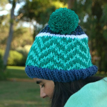 Pom Pom Beanie Chunky Hat Knitted Beanie Chevron Pattern Colorful Knit Hat Womens Fair Isle Beanie Winter Hat Fall Fashion Blue Green Hat