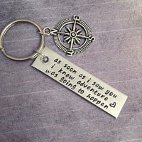 As Soon As I Saw You I Knew Adventure Was Going To Happen Keychain - Quote Accessories - Adventure Keychain - Love Keychain - Gift