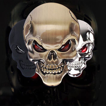 1pcs 3D Skull zinc alloy Metal Car Motorcycle Sticker  Skull Emblem Badge car styling stickers accessories