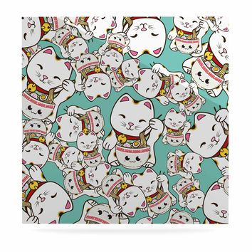 """Juan Paolo """"Ramen Cats"""" Teal White Luxe Square Panel"""