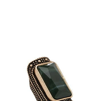 FOREVER 21 Faux Stone Cocktail Ring Green/Gold