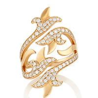 White Diamond French Tulip Double Bi-Pass Ring