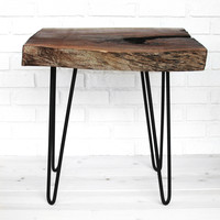 Live Edge Black Walnut Side Table w/ Black Hairpin Legs #1