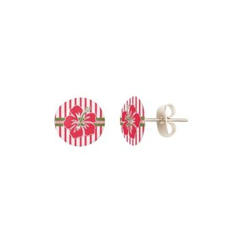 Bold Pink and White Stripes with Hibiscus Flower Earrings
