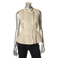 Guess Womens Faux Leather Eyelet Peplum Top