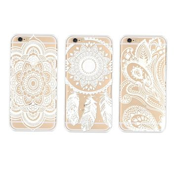 Henna Floral Paisley Flower Clear Hard Case Cover Skin for iPhone 6 Plus