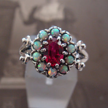 Pretty Sterling Ruby & Opal  Ring  Size 6 1/2