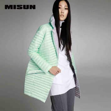 MISUN2017 spring thin down coat medium-long down female patchwork color block thermal new arrival women's down jackets for women