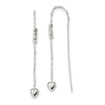 Sterling Silver Polished and D/C Heart Beaded Threader Earrings QE13447