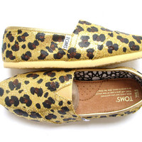 The Goldie  Cheetah Print on Gold Glitter TOMS by FruitfulFeet
