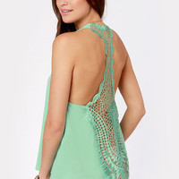 Back to Backless Mint Lace Tank Top
