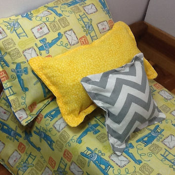 Boy Doll Bedding, blue planes on yellow, blue and white polka dot on reverse , 3 pillows for 18 inch doll, 4 piece set,  little girl gift