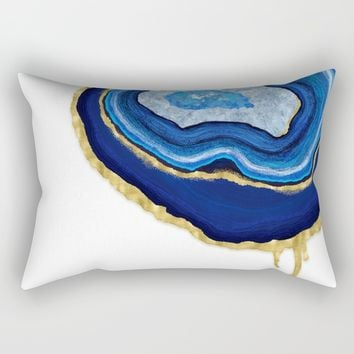 Blue Dripping Agate Rectangular Pillow by Noonday Design