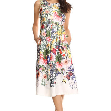 Sleeveless Summer Satin Midi Printed Dress