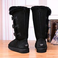 UGG Women Fashion Button Flats Leather Boots Half Boots Shoes