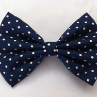 Navy/Taupe Polka Dot Hair Bow