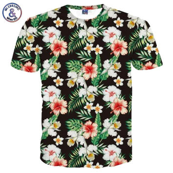 Brand T-shirt Men/Women Fashion Flowers T shirt 3d Print Birds Green Leaves Tshirt Summer Tops Tees