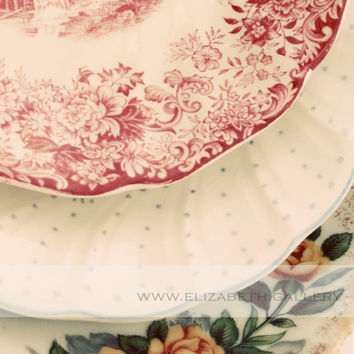 Floral Plates Photography Vintage Tea Cup Saucers Print 8x10 Wall Print - Kitchen Art