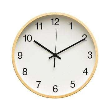 """Rustic Minimalist 12"""" Wall Clock Silent Non-Ticking Sweep Movement with Vintage Wood Grain Frame (Simple White With Maple Wood)"""