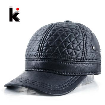 Trendy Winter Jacket 2018 Mens winter leather cap warm plaid hat baseball cap with ear flaps  adjustable snapback hats for men casquette AT_92_12