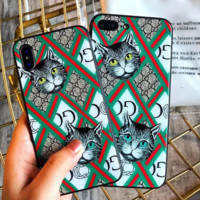GUCCI New fashion iPhone two cats more letter stripe print case toughened glass phone case