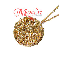 PIRATES OF THE CARIBBEAN Aztec Gold Coin Medallion Necklace