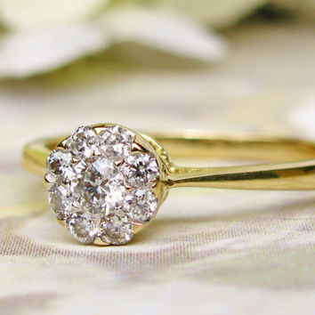Romantic Vintage Engagement Ring Heart Motif 14K Two Tone Gold Ring Daisy Diamond Cluster Ring Floral Diamond Wedding Ring!