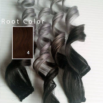 "Silver Ash 12"" 14"" 16"" or 18"" Silver Ash Blonde #4 Darkest Brown 100% Human Hair Ombre Dip Dye Pastel Hair"