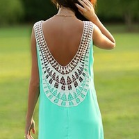 Don't Back Down Dress: Mint crochet dress