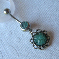 Flower Belly Ring, Aqua Belly Ring, Belly Button Jewelry, Rock Candy Jewelry