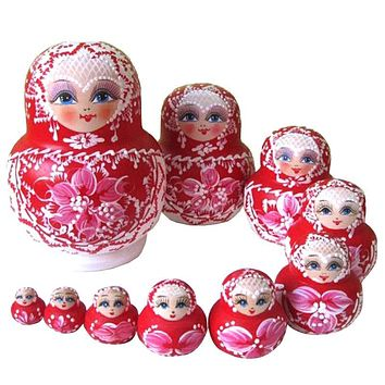 10PCS Wooden Russian Nesting Dolls Braid Girl Traditional Dolls