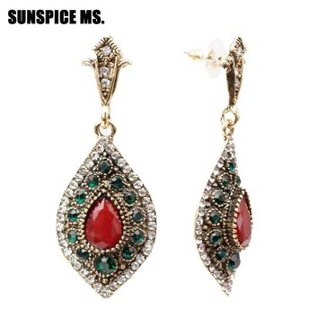 SUNSPICE MS Turkish Retro Vintage Dangle Earring For Women Antique Gold Color Water Drop Resin Ethnic Indian Jewelry Boho Bijoux