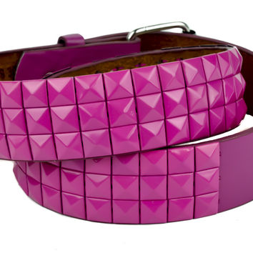 All Pink 3 Row Pyramid Stud Belt Genuine Leather